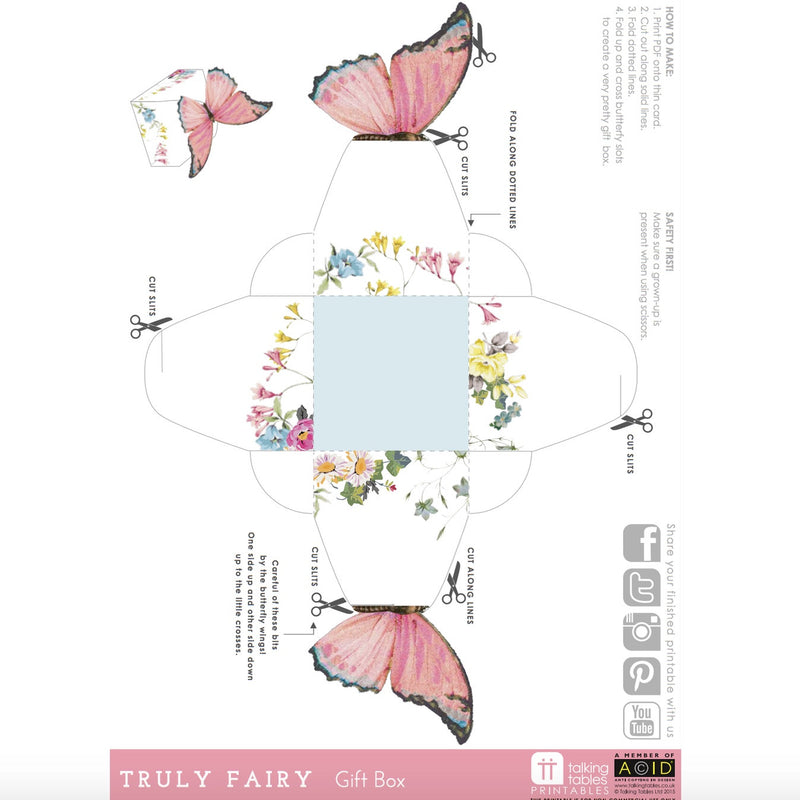 """Truly Fairy"" Free Printable - Treat Boxes, TT-Talking Tables, Putti Fine Furnishings"