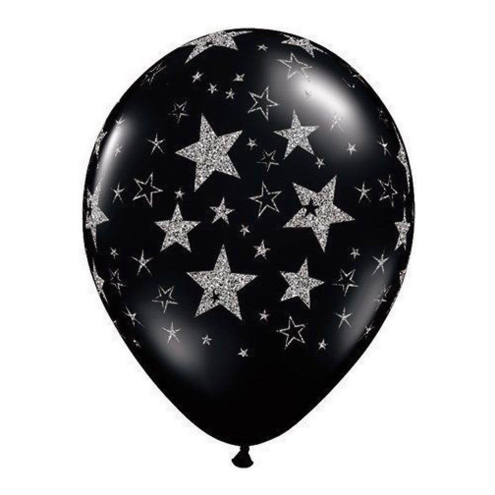 Black Balloon with Silver Glitter Stars