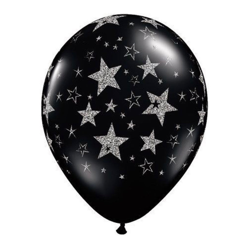 Black Balloon with Silver Glitter Stars, SE-Surprize Enterprize, Putti Fine Furnishings
