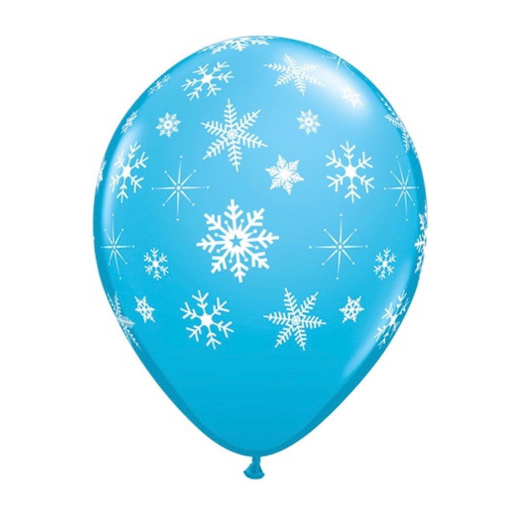 Robin's Egg Blue Balloon with Snowflakes