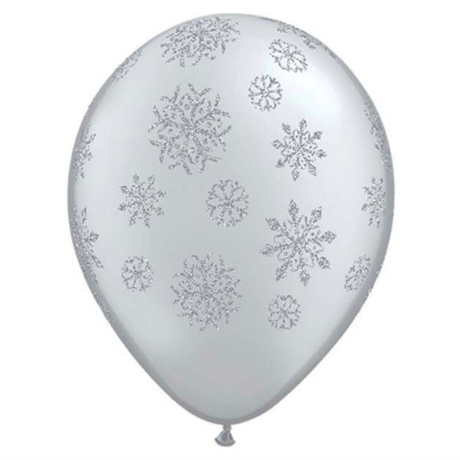 Silver Balloon with Silver Glitter Snowflakes, Qualatex England, Putti Fine Furnishings