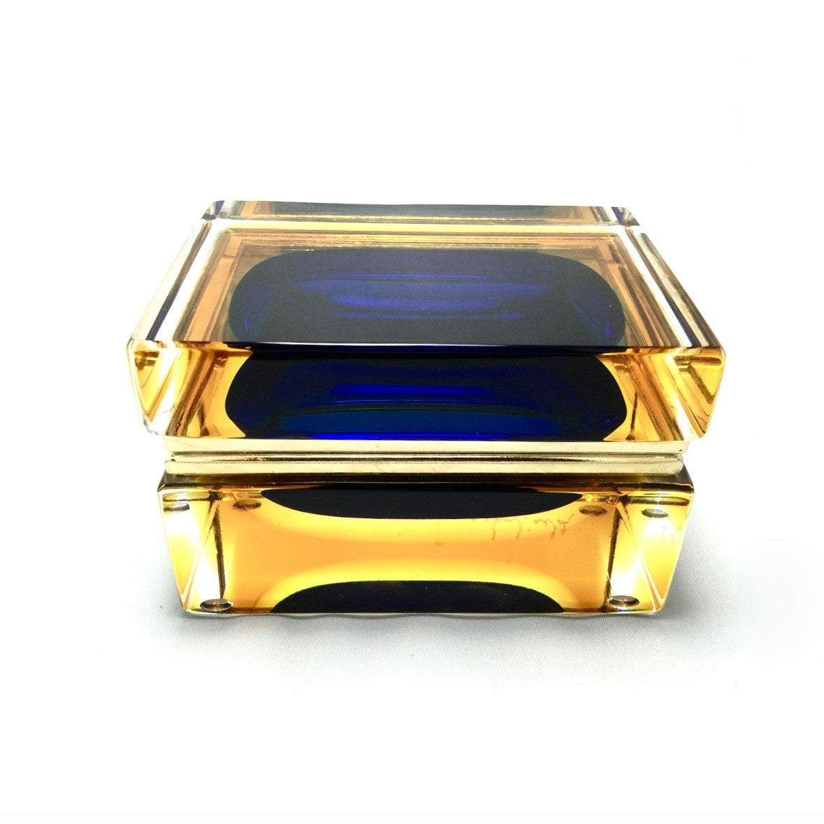 Alessandro Mandruzzato Rectangular Murano Glass Box in Amber and Cobalt, Alessandro Mandruzzato, Putti Fine Furnishings