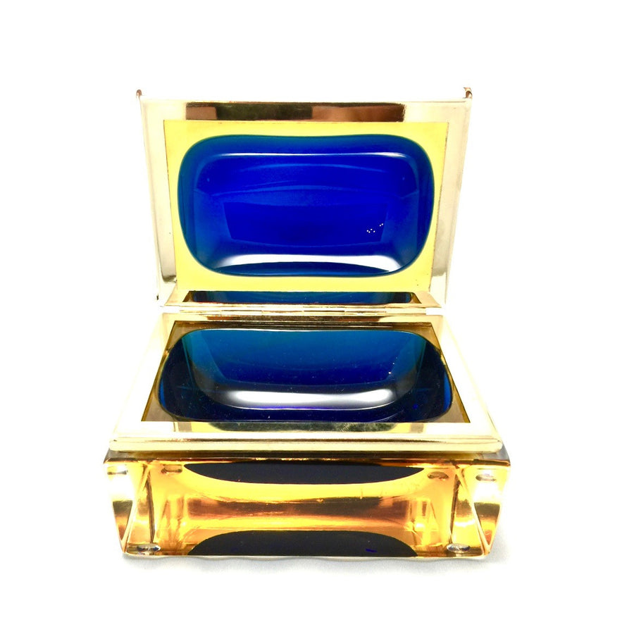 Alessandro Mandruzzato Rectangular Murano Glass Box in Amber and Cobalt