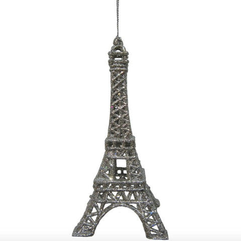 Glittered Eiffel Tower Ornament - Silver -  Christmas - Midwest / CBK - Putti Fine Furnishings Toronto Canada