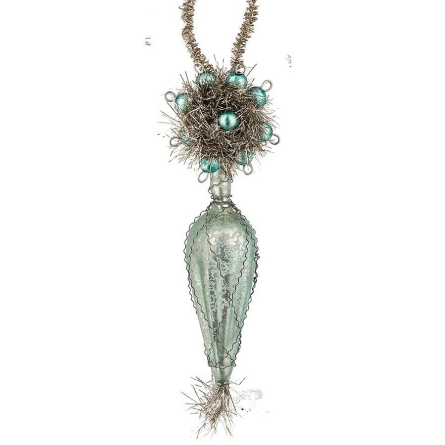 Vintage Drop Ornament - Aqua