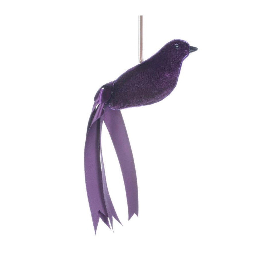 Purple Velvet and Feather Bird -  Christmas - Christmas Tradition - Putti Fine Furnishings Toronto Canada