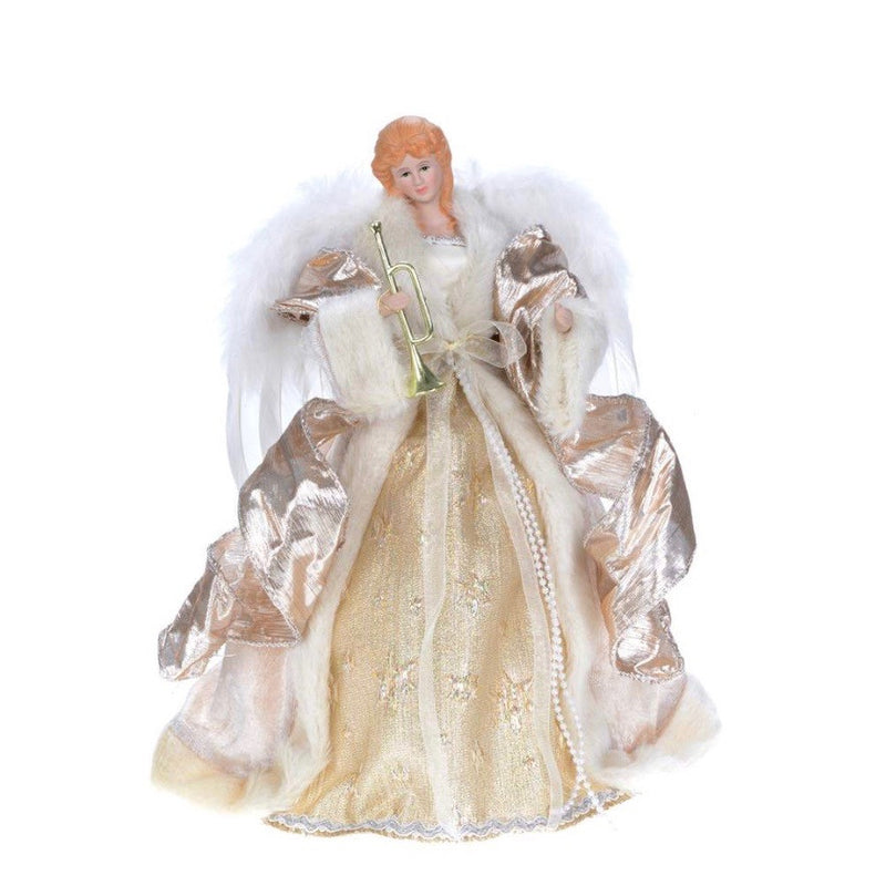 Ivory Gold Angel with Trumpet, CT-Christmas Tradition, Putti Fine Furnishings