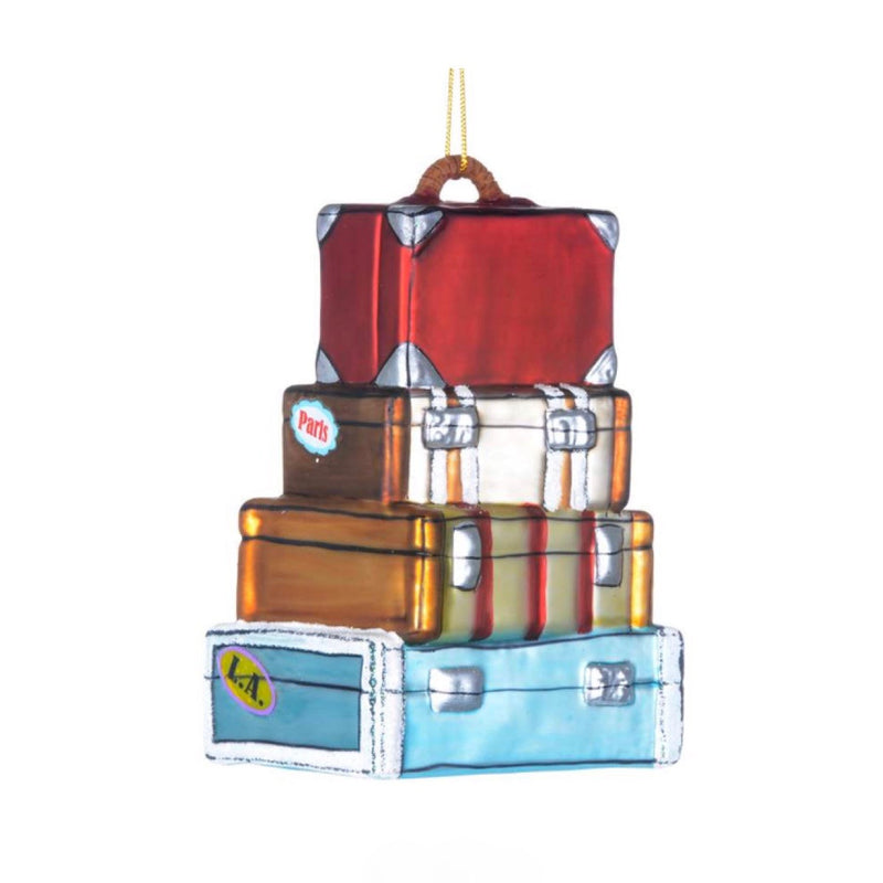 Stack of Vintage Suitcases Glass Christmas Ornament, CT-Christmas Tradition, Putti Fine Furnishings