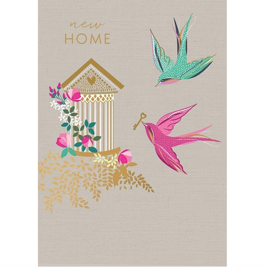 "Birds with Key ""New Home"" Greeting Card"