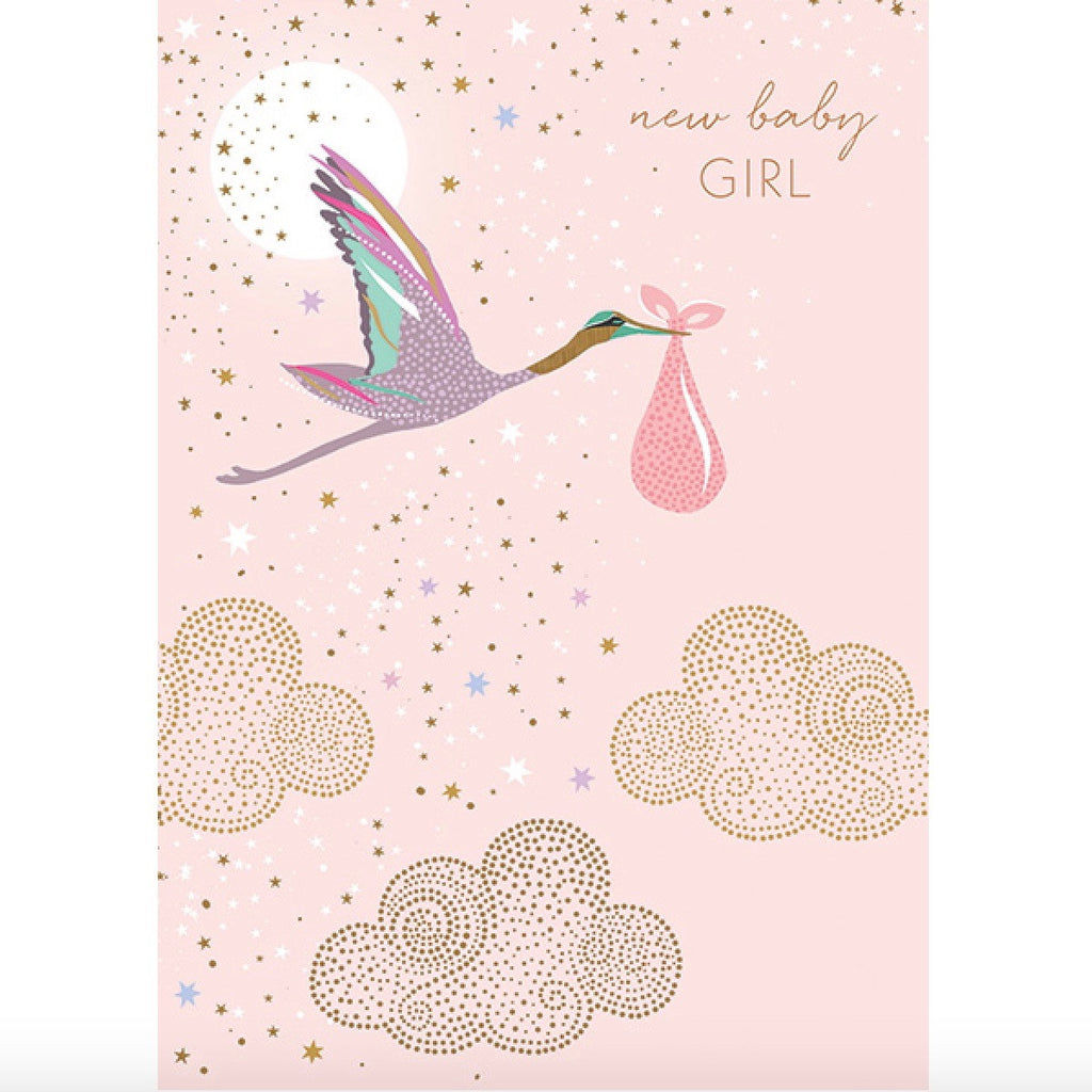 Sara miller flamingo happy birthday greeting card le petite pink stork new baby girl greeting card id incognito distribution putti kristyandbryce Images