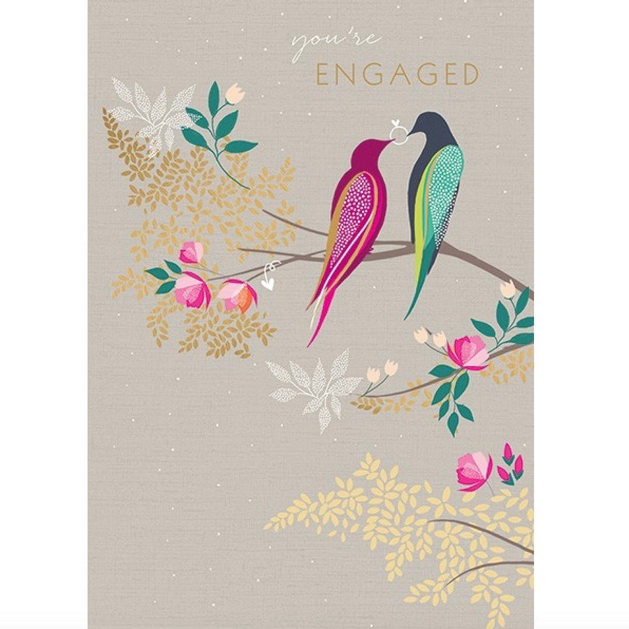 "Love Birds with Ring ""You're Engaged"" Greeting Card"
