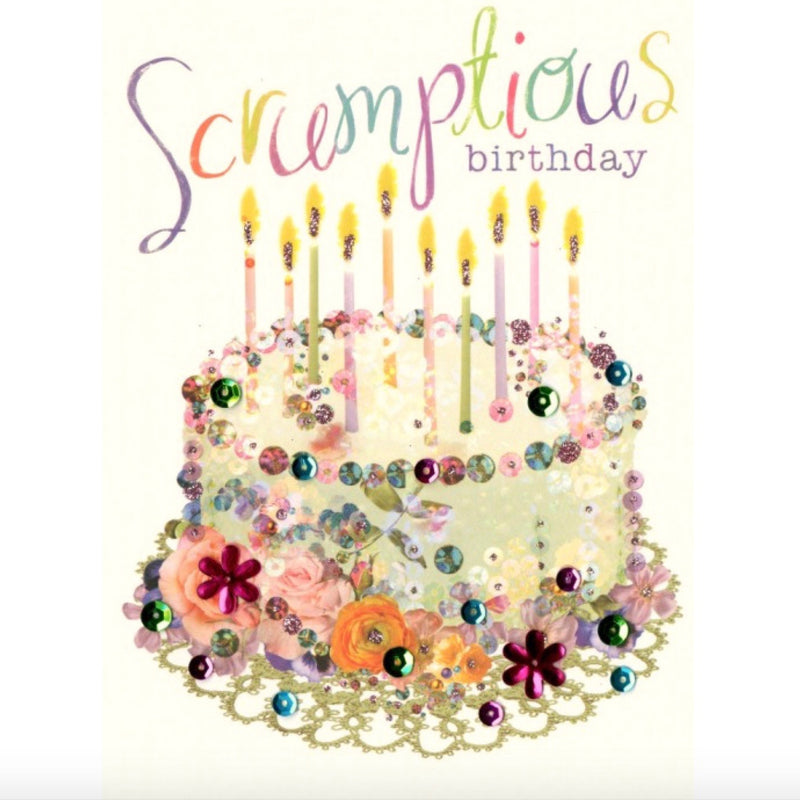 "Birthday Cake ""Scrumptious Birthday"" Greeting Card, ID-Incognito Distribution, Putti Fine Furnishings"