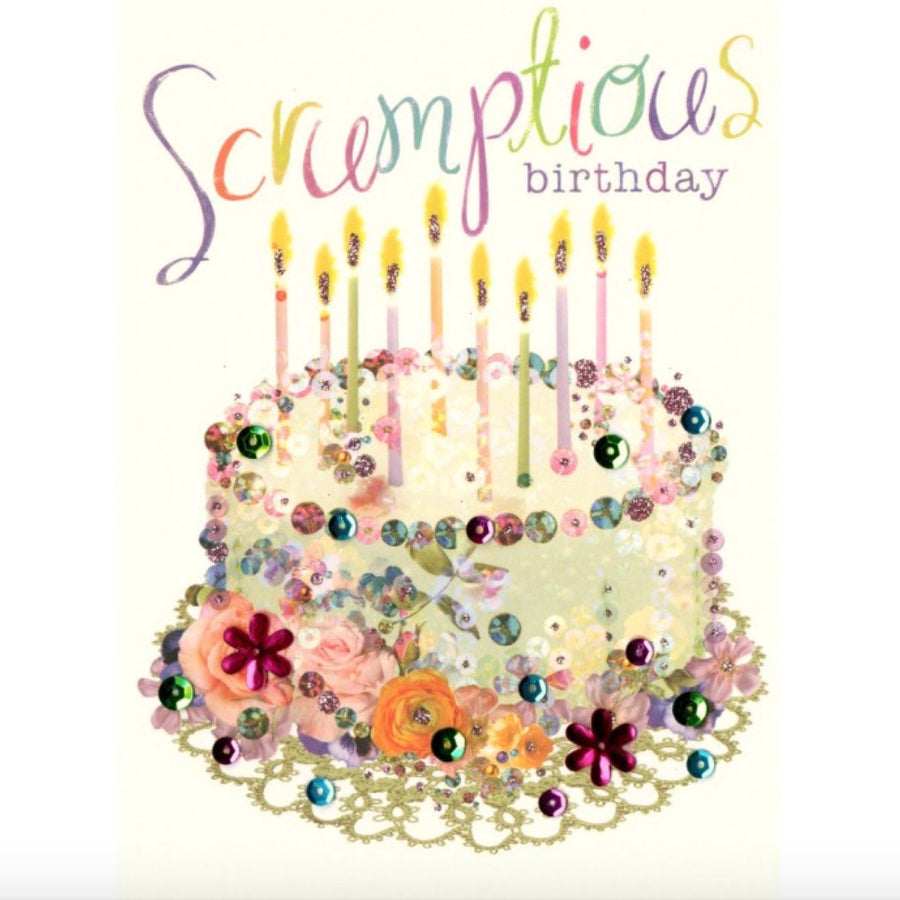 "Birthday Cake ""Scrumptious Birthday"" Greeting Card"
