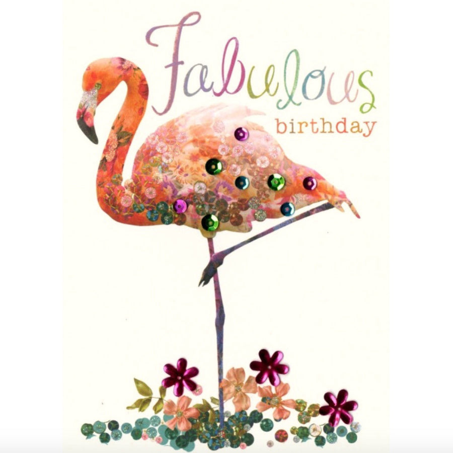"Pink Flamingo ""Fabulous Birthday"" Greeting Card"