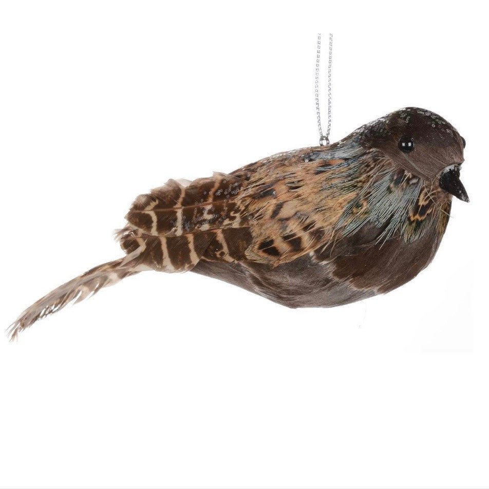 Brown Woodland Feather Bird Ornament