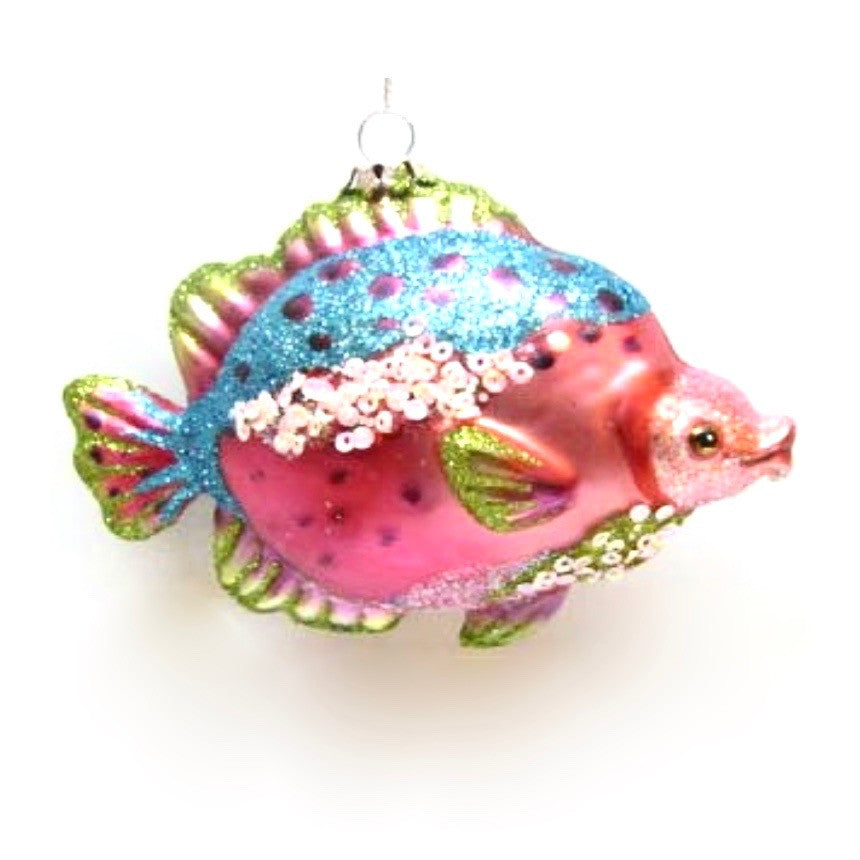 Jim Marvin Tropical Fish Ornament - Pink and Blue