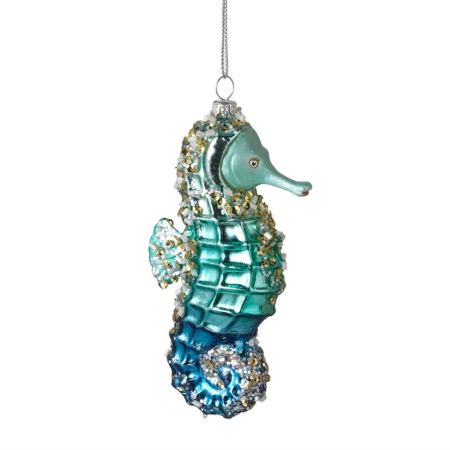 Glass Seahorse Ornament - Aqua & Blue