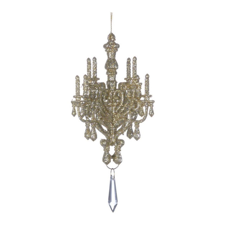 Champagne Glittered Chandelier Ornament, CT-Christmas Tradition, Putti Fine Furnishings