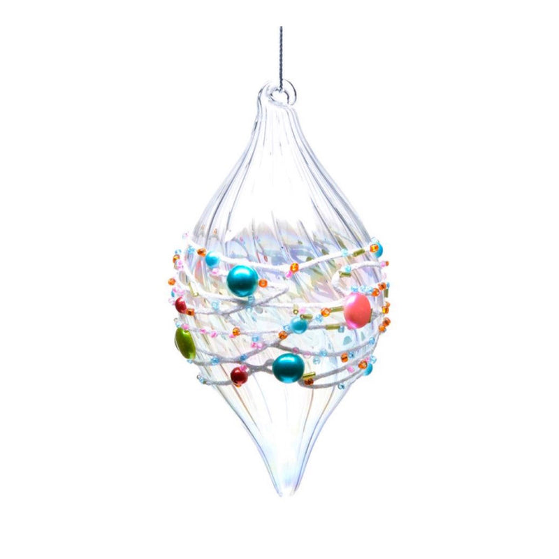 Clear Blown Glass Ornament with Candy Motif - Double Point, CT-Christmas Tradition, Putti Fine Furnishings