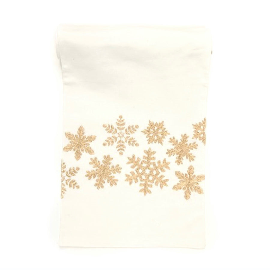 Gold Snowflake Christmas Table Runner