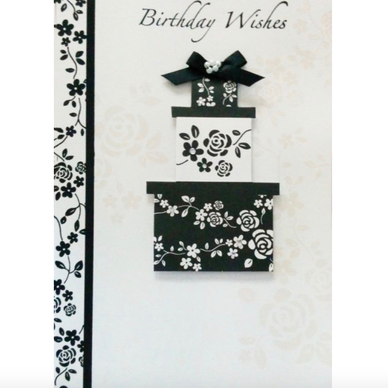 """Birthday Wishes"" Black and White Presents Greeting Card"
