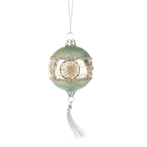 Witches Eye Ornament with Tassel - Aqua-Christmas-MW-Midwest / CBK-Putti Fine Furnishings