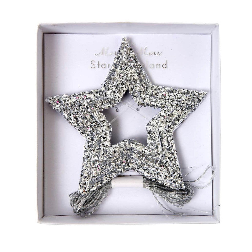Meri Meri Glitter Stars Mini Garland - Silver, MM-Meri Meri UK, Putti Fine Furnishings