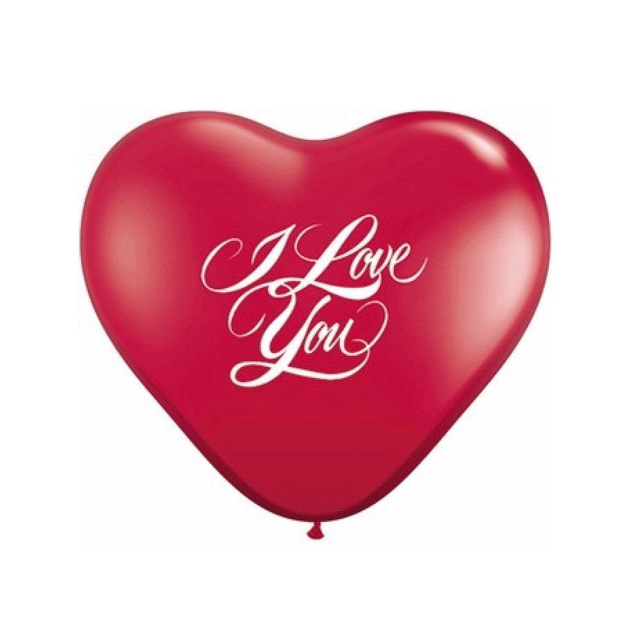 "Red Heart ""I Love You"" Script Balloon"