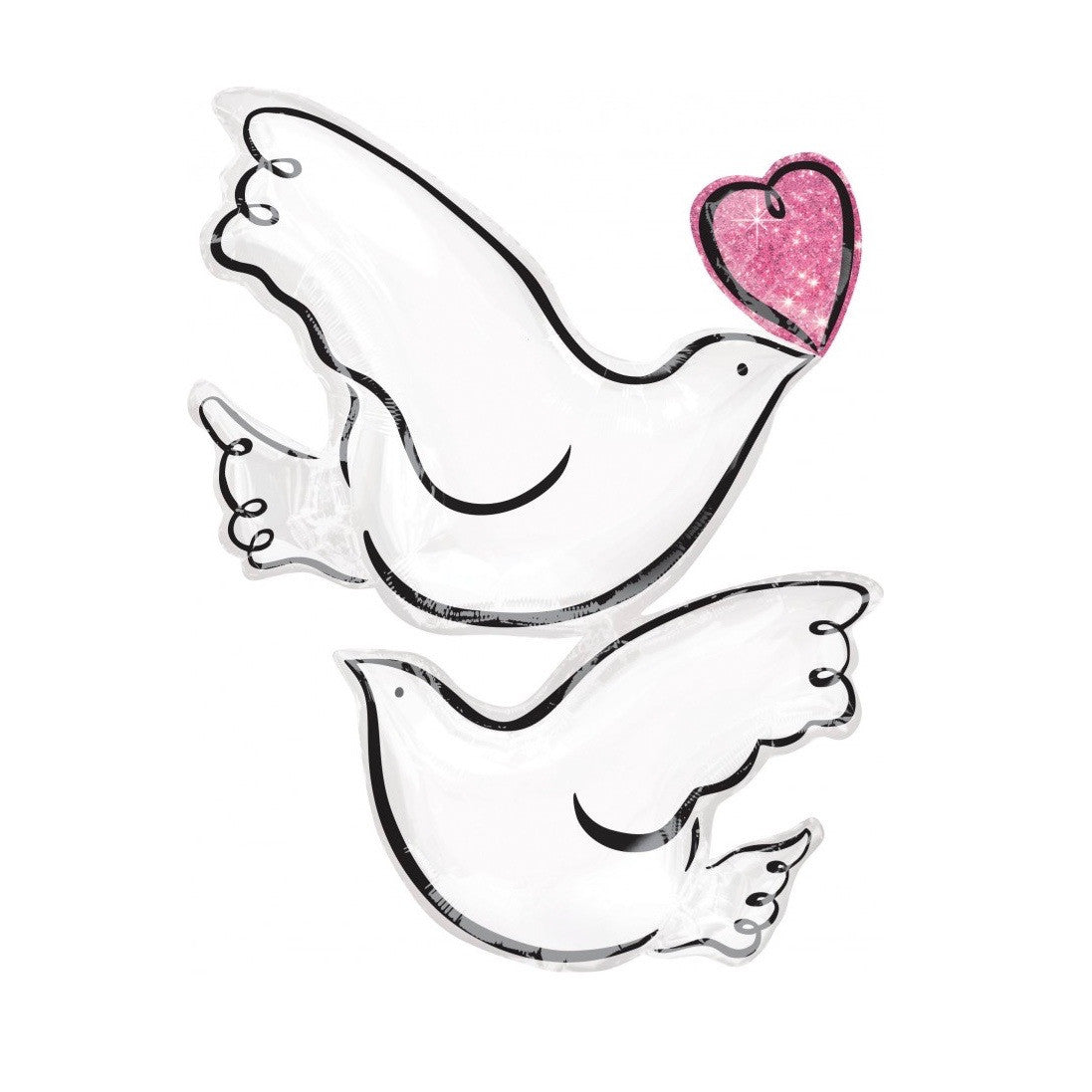 Pair of White Doves and Heart Balloon, SE-Surprize Enterprize, Putti Fine Furnishings