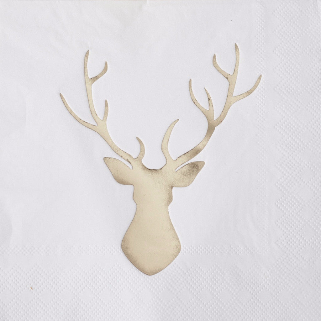 Foiled Stag Paper Lunch Napkins - Gold