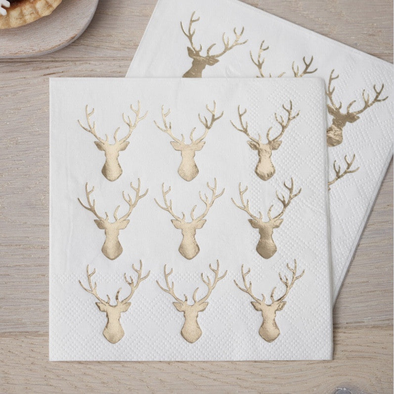 Foiled Mini Stag Paper Cocktail Napkins - Gold