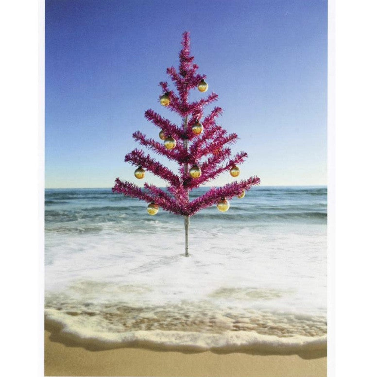"""Christmas Tree on Beach"" Card"