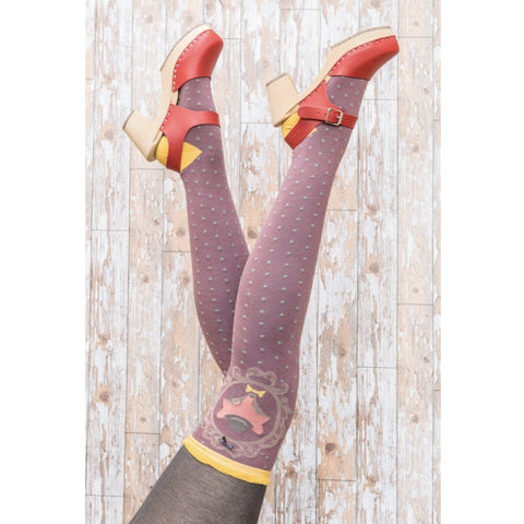 "Powder ""Fox"" Long Socks - Plum-Personal Accessories-PDL-Powder Design Limited-Putti Fine Furnishings"
