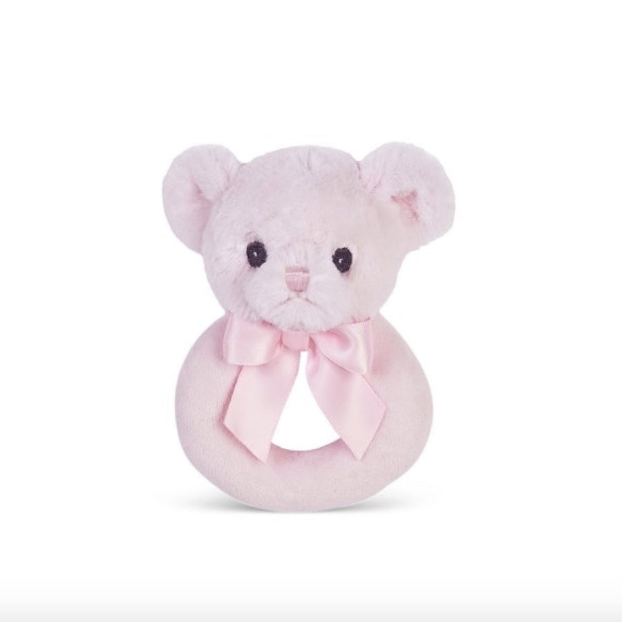 "Pink ""Huggie Bear"" - Rattle -  Children's - BC-Bearington Baby Collection - Bella Flor - Putti Fine Furnishings Toronto Canada"