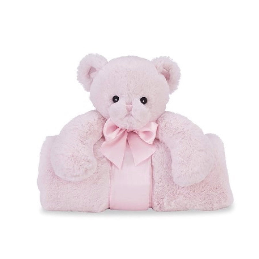"Pink ""Huggie Bear"" - Plush Cuddle Me Blanket -  Children's - BC-Bearington Baby Collection - Bella Flor - Putti Fine Furnishings Toronto Canada"