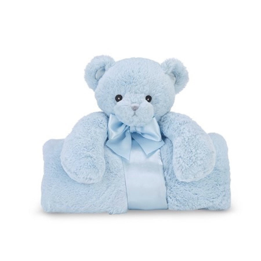 "Blue ""Huggie Bear"" - Plush Cuddle Me Blanket -  Children's - BC-Bearington Baby Collection - Bella Flor - Putti Fine Furnishings Toronto Canada"