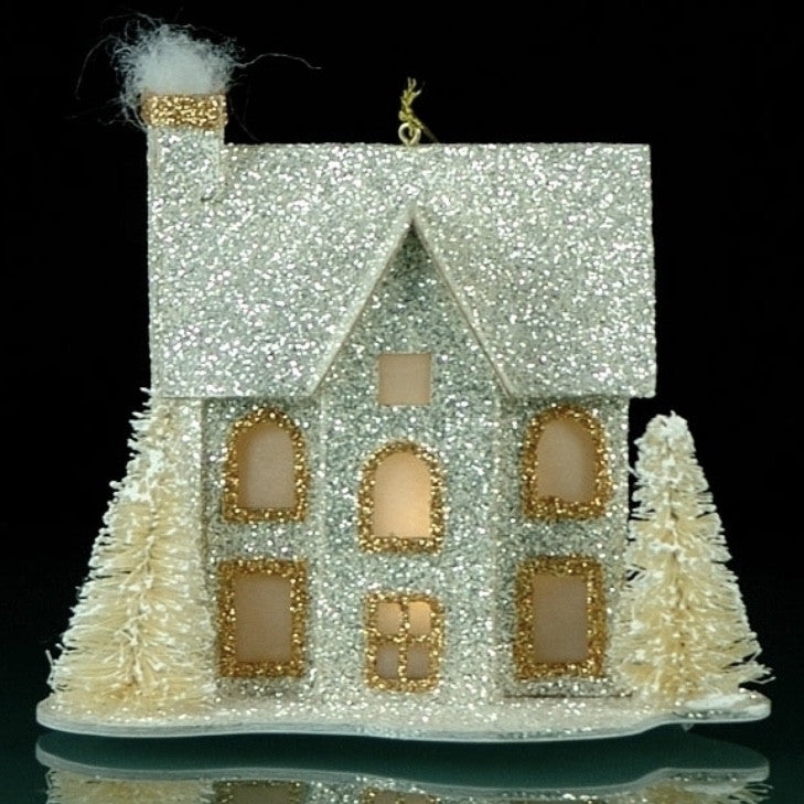 Silver & Gold Glittered Village House Ornament with LED Light