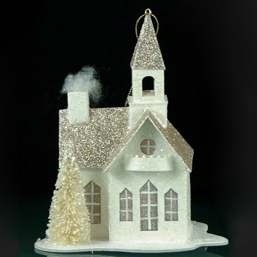 Silver & White Glittered Village Church Ornament with LED Light