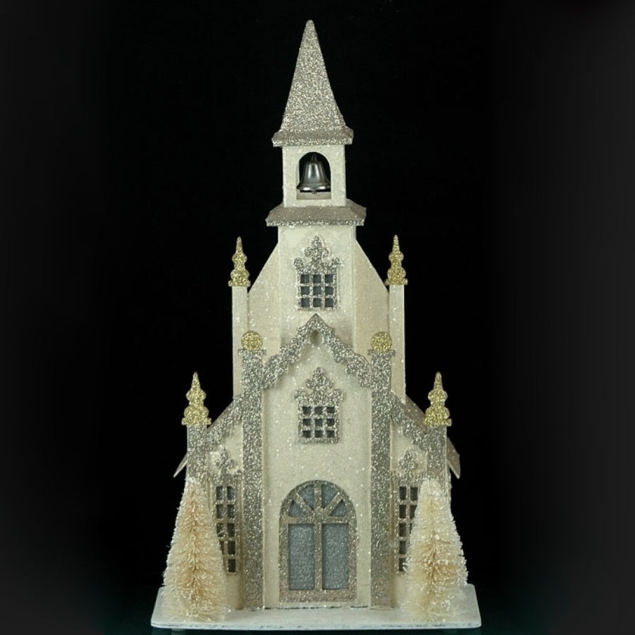 Silver and White Village Church with LED Light