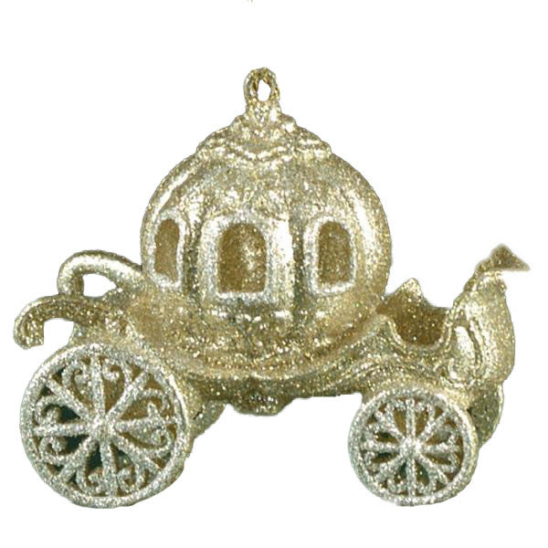 Champagne Gold Glitter Cinderella's Carriage Ornament -  Christmas - ST-Starlight Trading - Putti Fine Furnishings Toronto Canada