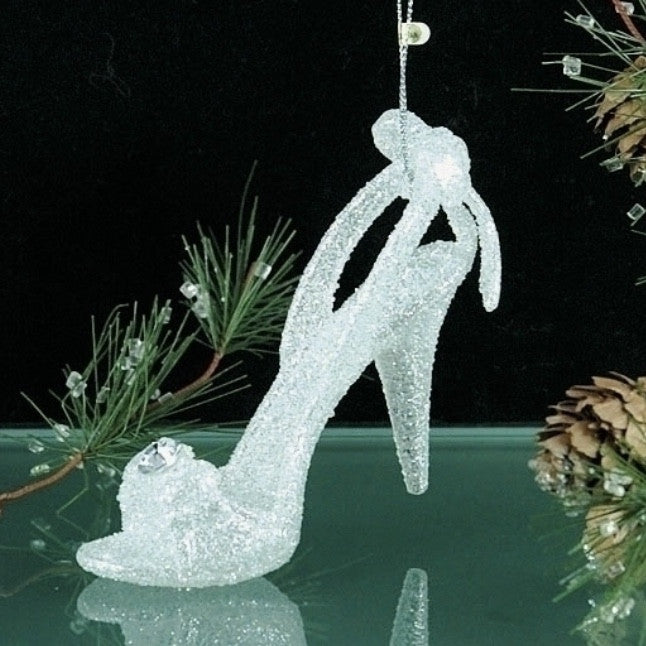 White Glitter High Heal Shoe Ornament
