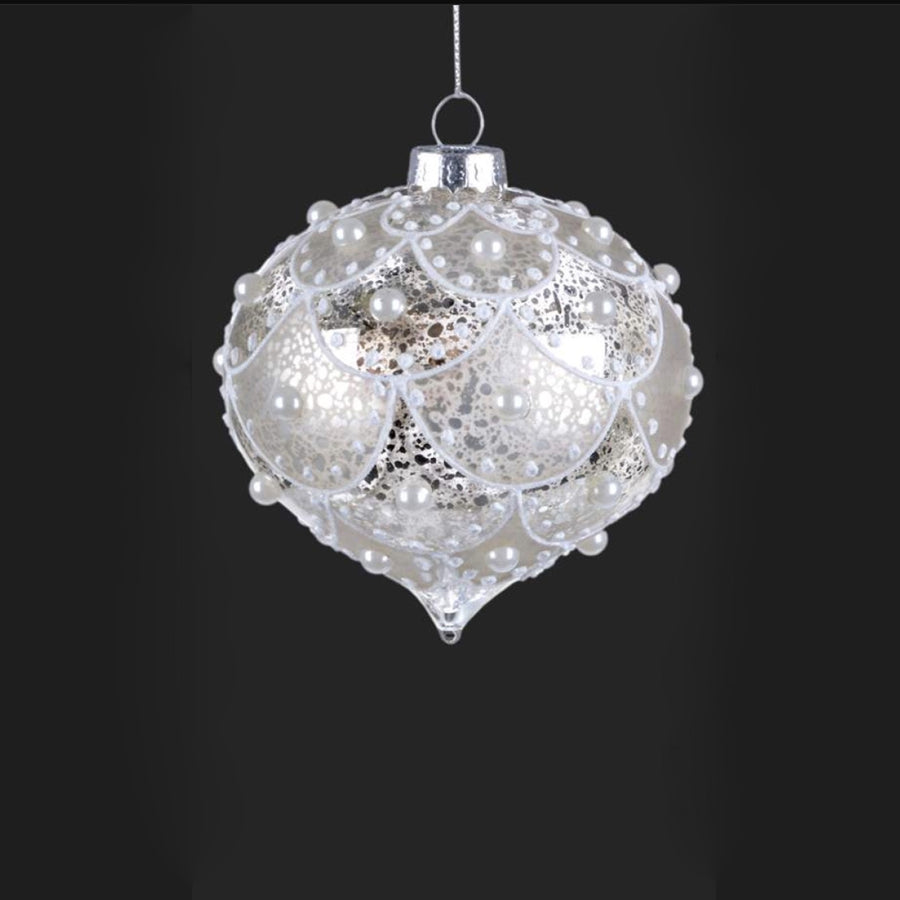 Silver Glass Onion Ornament with Glitter and Pearls