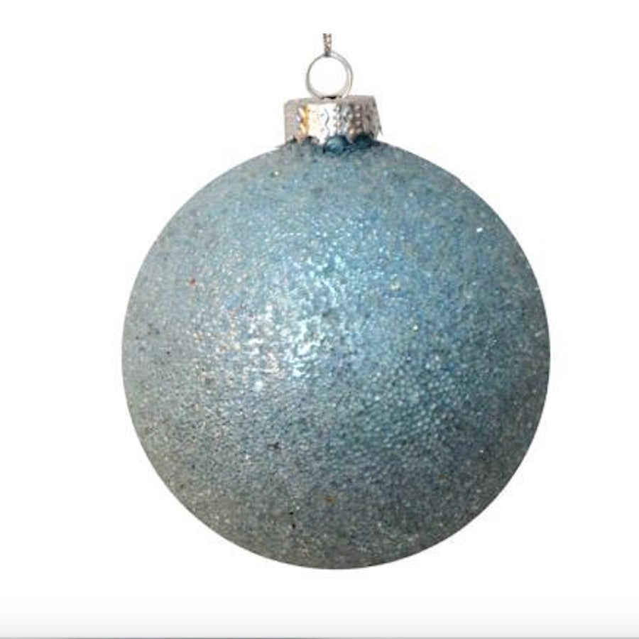Iced Aqua Blue Glass Ball Ornament