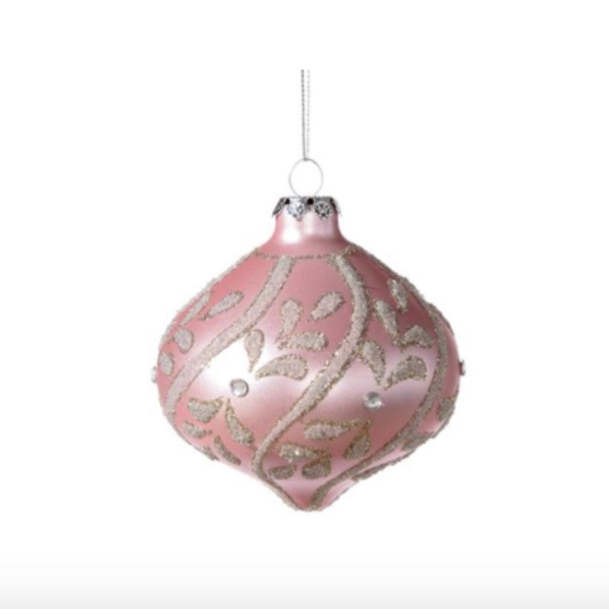 Pink Decorated Onion Ornament