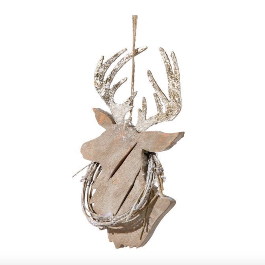 Wooden Reindeer Head Ornament