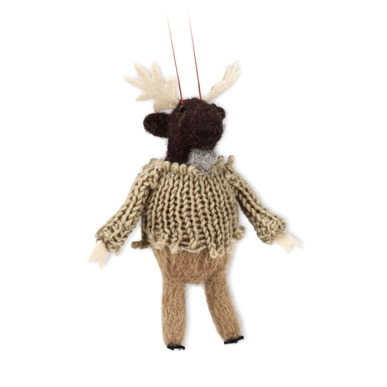 Moose in Sweater Felted Ornament -  Christmas - AC-Abbot Collection - Putti Fine Furnishings Toronto Canada - 1