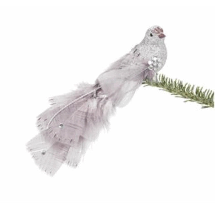 Silver Feather Bird -  Christmas - AC-Abbott Collection - Putti Fine Furnishings Toronto Canada