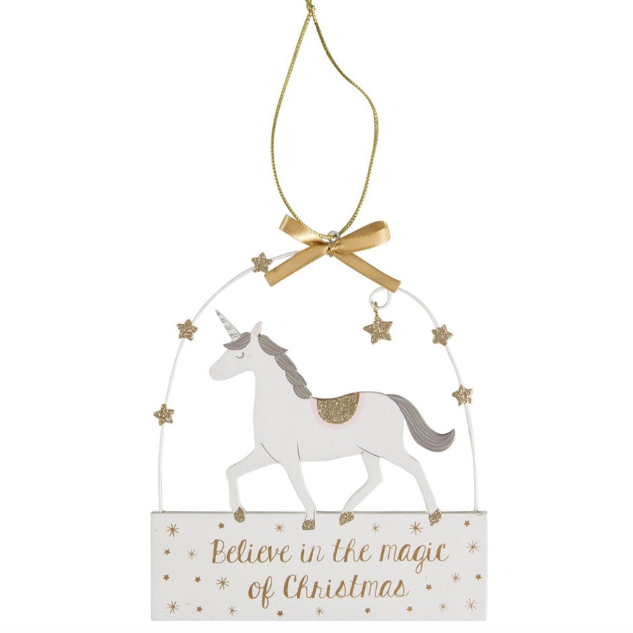 """Believe in the Magic of Christmas"" Unicorn Ornament"