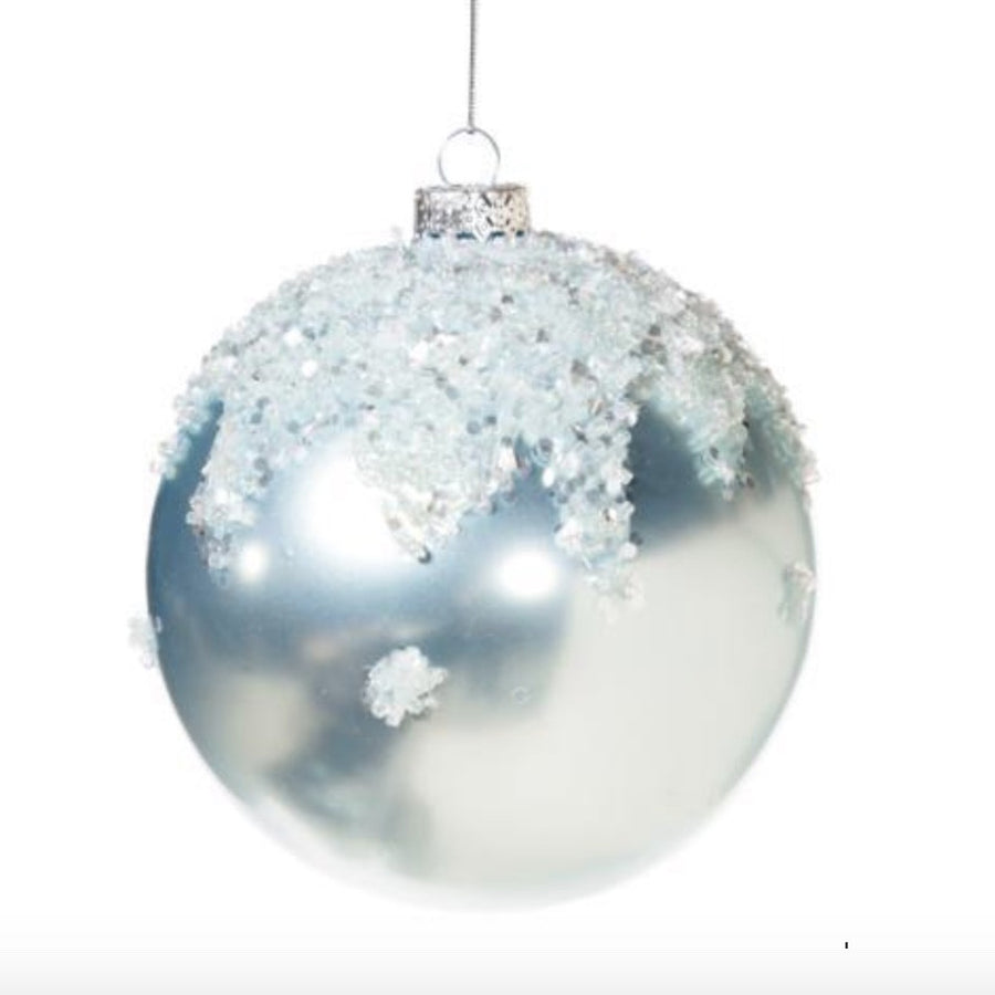 Pale Ice Blue Glass Ball Ornament Capped with Snow Crystals