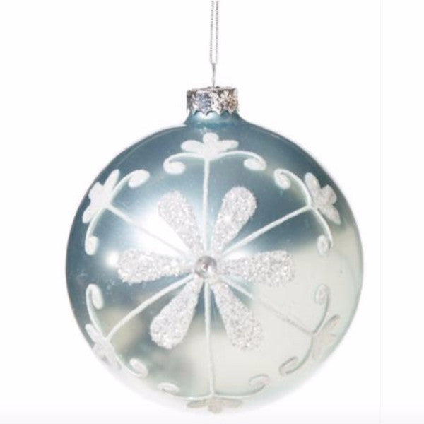 Pale Ice Blue with Flower Motif Glass Ball Ornament